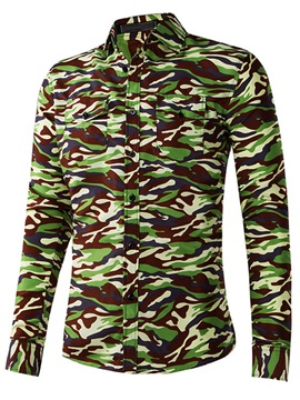 Camouflage Printed Regular Fit Mens Casual Shirt