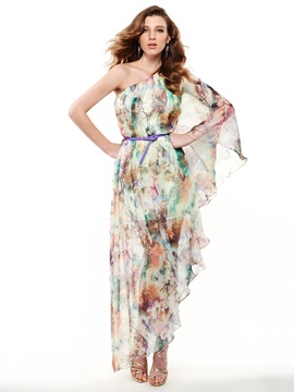 Sisjuly Print One Shoulder Day Dress