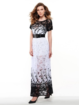 Sisjuly Lace Patchwork Print Short Sleeve Maxi Dress
