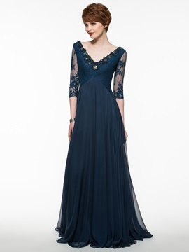 Beautiful V Neck A Line Mother Of The Bride Dress With Sleeves