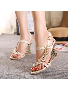 Rhinestone Open Toe Buckle Wedge Sandals
