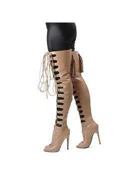 Pu Peep Toe Lace Up Thigh Boots