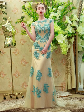 Vintage Straps Appliques Beading Backless Evening Dress