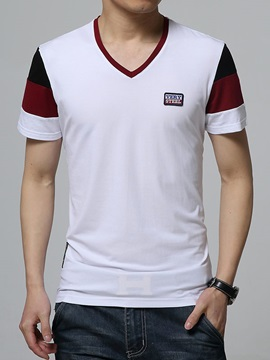 Color Block Mens V Neck Tee