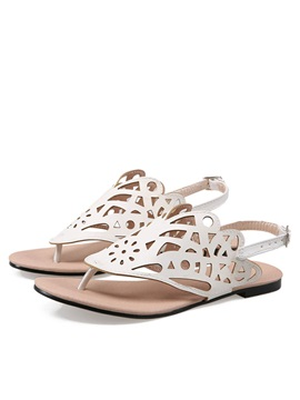 Pu Cut Out Thong Flat Sandals