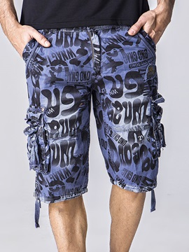 Side Pocket Letter Printed Mens Zipper Shorts