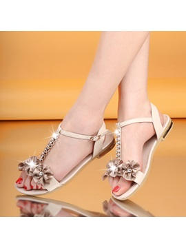 Rhinestone Applique T Strap Flat Sandals