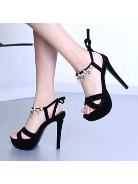 Black Rhinestone Stiletto Heel Platform Sandals