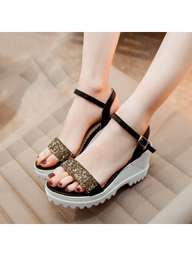 Sequins Buckle Wedge Sandals Plus Size Avilable