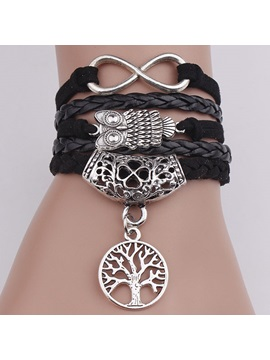 Vintage Owl Life Tree Decorated Infinity Bracelet