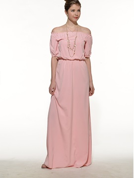 Plain Off The Shoulder Empire Waist Maxi Dress