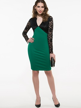 Contrast Deep V Empire Waist Work Bodycon Dress