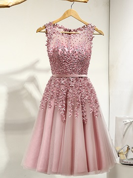 Scoop A Line Appliques Beading Short Prom Dress