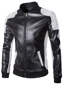 Patchwork Zipper Mens Casual Pu Jacket