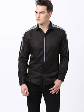 Hidden Zipper Plain Mens Leisure Shirt
