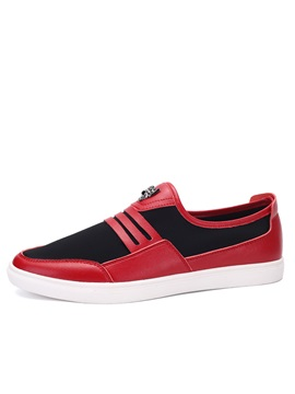 Color Block Pu Slip On Skater Shoes