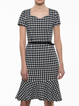 Houndstooth Short Sleeve Mermaid Work Bodycon Dress With
