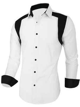 Color Block Casual Mens Shirt