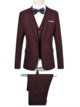 Plain Single Button Mens Three Pieces Suit
