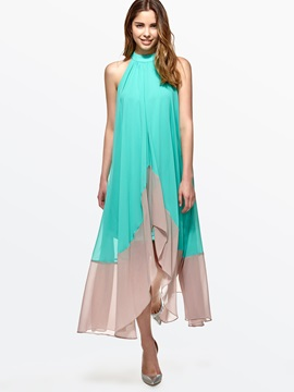 Contrast Asymmetric Turtleneck Sleeveless Maxi Dress