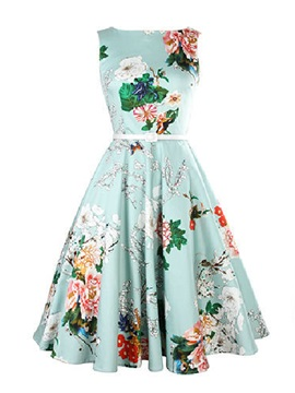 Sleeveless Flower Printed Womens Day Dress