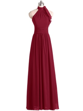 Simple Halter Chiffon Long Bridesmaid Dress