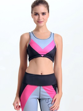 Spandex Color Block Women Sports Bra