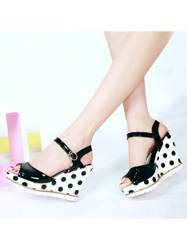 Pu Polk Dots Peep Toe Wedge Sandals