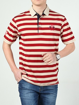 Stripe Loose Fit Mens Turn Down Collar Polo