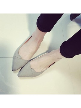 Nubuck Leather Pointed Toe Sweet Womens Flats