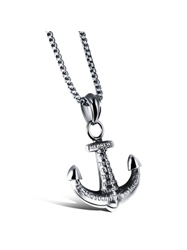 Punk Anchor Shape Titanium Steel Mens Necklace