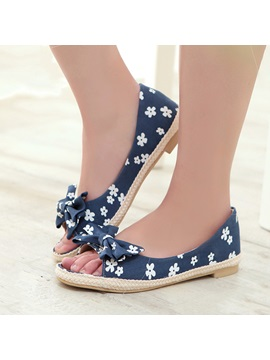 Bowtie Floral Printed Flats