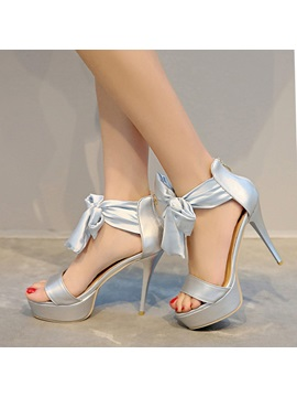 Bowknots Back Zip Stiletto Heel Sandals