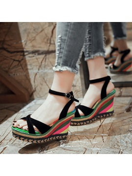 Color Block Peep Toe Crochet Wedge Sandals