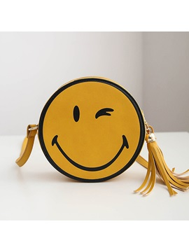 Round Shaped Smile Design With Tassel Womens Summer Bag