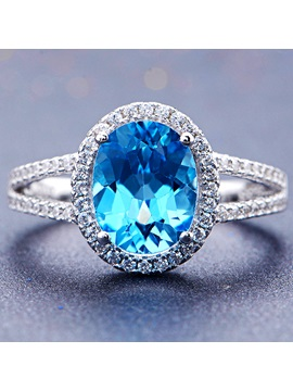 Beautiful Blue Crystal Women Ring