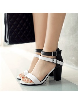 Color Block Chunky Heel Buckle Sandals