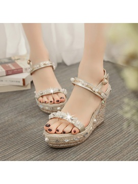 Sequins Rhinestone Wedge Sandals