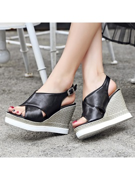 Peep Toe Cut Out Wedge Sandals