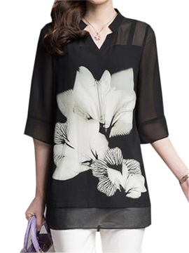 Chic Half Sleeves Floral Printed Blouse