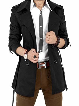 Single Double Breasted Button Lapel Mens Trench Coat