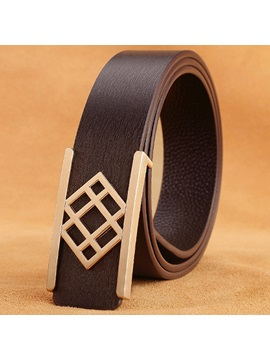 Geometric Design Smooth Buckle Mens Belt