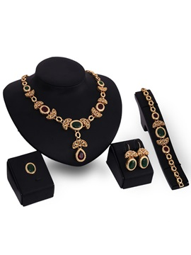 Hot Sale Golden E Plating Four Pieces Jewelry Set