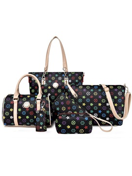 Vintage Pattern Printed Womens Bag Set Six Bags