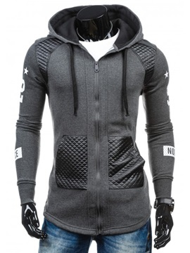 Patchwork Zip Slim Fit Casual Mens Hoodie