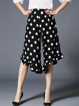 Vintage Polka Dot Designed Flouncing Pant