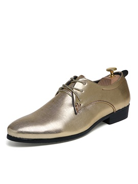 Elegant Plain Toe Lace Up Dress Shoes For Men