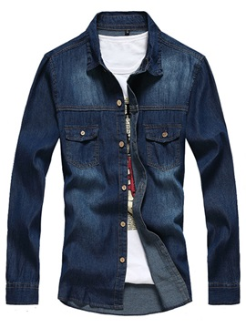 Casual Long Sleeve Mens Denim Shirt