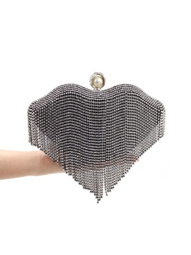 Lips Shaped Rhinestone Tassel Womens Clutch