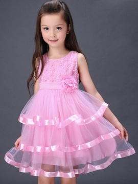 Rose Decoration Layered Girls Dress